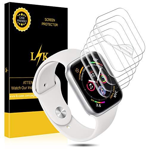 L K [6 Pezzi Pellicola per Apple Watch 44mm Series 4, Wet Applied Pellicola Protettiva in TPU [Bubble-Free-Riutilizzabile] [qualità Premium] HD Clear Pellicola per Apple Watch 44mm Serial 4