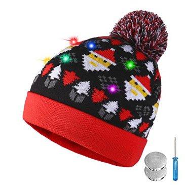 TAGVO LED Light Up Bonnet Chapeau Beanie Hat Knit Cap, 6 LED Coloré Noël Tricoté Chapeau,Hiver Chapeau Lumineux Casquette Unisex Neige Chapeau Chaud Souple pour Sport Fête Camping Jogging Vélo
