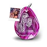My Pebbles: Gemma Come Portachiavi Personalizzato con Fotografia Come Regalo per Fidanzata, Amico e Amico – Regalo per Foto inciso Pebble 2 Go Achat Purple Rain