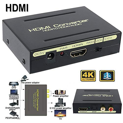 TEQIN HDMI to HDMI & Optical SPDIF RCA Analog Audio Extractor Converter Splitter 1080P
