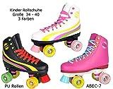 Sell-tex Rollschuhe für Kinder Rollerskates NEU Gr. 34 35 36 37 38 39 40 Pink weiß schwarz (36, schwarz)