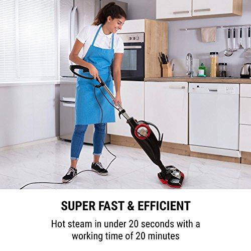 Oneconcept Flux limpiadora al Vapor • Limpiadora de Mano • Limpiaventanas • Versátil • 1600 W • Depósito de 600 ml • Funcionamiento de 20 Minutos • 5 m de Cable • 2,8 kg • Juego de cepillos • Rojo