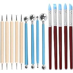 Pulluo Set di Strumenti di Modellazione Attrezzi per Fimo 14 Pezzi Kit in Argilla Scultura in Ceramica Utensili per Modellare DIY Mestiere Torta Sculpting Painting Tools