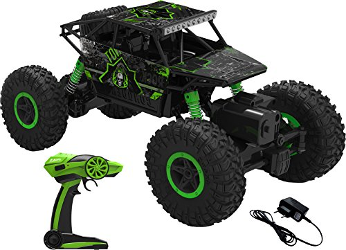Webby 1:18 Scale Remote Controlled Rock Crawler Monster Truck, Green