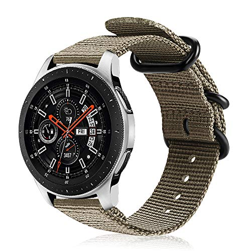 FINTIE Cinturino per Galaxy Watch 46mm/Gear S3 Classic/Gear S3 Frontier/Huawei Watch GT Sport, 22 mm Morbido Tessuto di Nylon Sports Watch Band Regolabile con Fibbia Acciaio Inox, Desert Tan