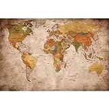 Great Art Fototapete - Weltkarte - Wandbild Used Look Dekoration Old School Vintage World-Map Globus Kontinente Atlas Retro - Weltkugel Geografie Wandtapete (336 x 238 cm)