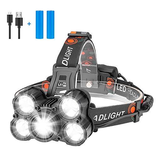 Eletorot Torcia Lampada Frontale LED 100000 ore o più, 2000LM Lampada da testa LED USB...