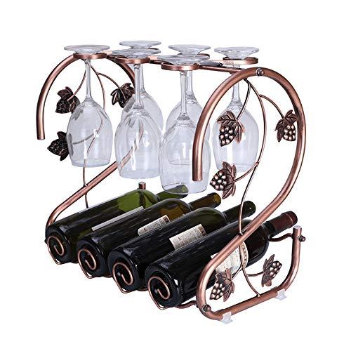 LIHONGXIA Portabottiglie Metallo per Bottiglie di Vino,Cantinetta Portabottiglie 4 Bottiglie,Disegno...