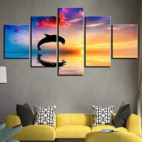 mmwin Quadro modulare per Soggiorno 5 Pannelli Delfini Swim Jump s Sunset Seascape Poster Home Wall...