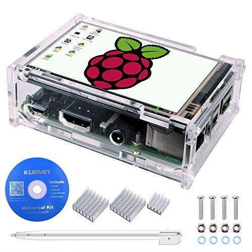 Kuman 3,5 Pollici Touchscreen, TFT Monitor LCD Display Risoluzione 320 * 480 con Custodia Protettiva, 3 x Dissipatori di Calore, 1 xTouch Pen per Raspberry Pi 3 Model B, Pi 2 Model B & Pi Model B SC11
