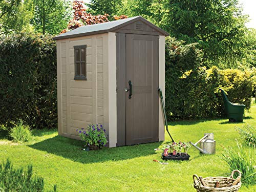 This Keter Factor Outdoor Plastic Garden Storage Shed is larger than the Keter Manor Outdoor Storage Shed, therefore, offering you more room to work with. The 4 x 6 ft. unit is made entirely out of plastic and offers you storage solutions for your various tools and garden equipment. You can keep bicycles, chairs, ladders, and lawn mowers among other things.