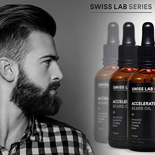 Bart Öl (Beard Oil) zur Bartpflege für stärkeres Barthaar und mehr Bartwuchs - mit Biotin, Mandelöl, Ginseng & Jojoba - Bart-Weichmacher, Pflege, Bartwachstums Mittel und Conditioner in einem - 50ml Glasflasche