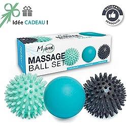 RELÁJESE Un conjunto único de 3 bolas de masaje diferentes - Ayuda a aliviar la tensión y el estrés. Perfectas para masajear los pies, los hombros, los brazos y la espalda // Idea original de regalo