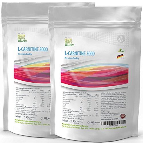 L-Carnitin 1000 Tabletten | 3000mg Acetyl-L-Carnitin je Tagesportion | Vegan | Fatburner - Big Pack | zum Abnehmen | hergestellt in Deutschland