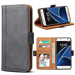 Kaufen Samsung Galaxy S7 Hülle, Bozon Leder Tasche Handyhülle Flip Wallet Schutzhülle für Samsung Galaxy S7 mit Ständer und Kartenfächer/ Magnetic Closure (Dunkel-Grau)