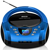 Tragbare Boombox   CD/CD-R   USB   FM Radio   AUX-In   Kopfhöreranschluss   CD-Player   Kinder Radio   Boombox   CD-Radio   Stereoanlage   Kompaktanlage (Cobalt Blue)