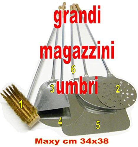 GMU GRANDI MAGAZZINI UMBRI Kit Pale per Pizza Forno A Legna Set Pale per Pizza 6 PZ Set Pala PIZZE...