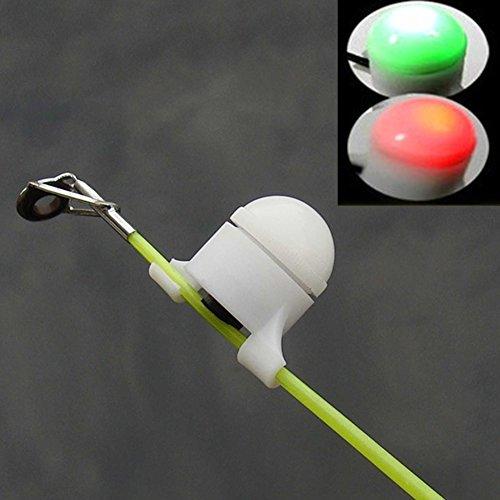 Qind, avvisatore di abboccata per pesca, luce notturna, LED lampeggiante, segnale sonoro per canna da pesca, esca con allarme, montatura di avviso per canna da pesca (bianco)
