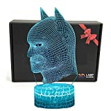 TriPro LED Superhero 3D Illusione Ottica Smart 7 Colori di Luce di Notte Lampada da Tavolo con Cavo di Alimentazione USB Batman