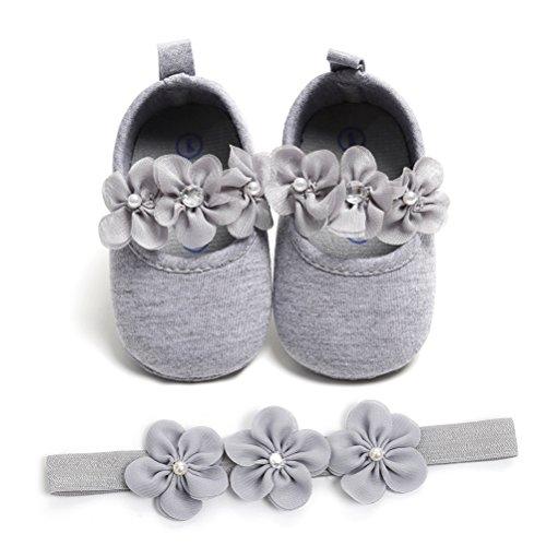 2 Pezzi Neonata Scarpe + Fascia, Bambino Fiore Scarpe Anti Scivolo Morbido Occasioni Speciali Battesimo per la Festa Nuziale Scarpe (0-6 Mesi, Grigio)