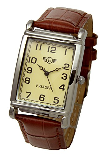 Eriksen orologio rettangolare da uomo, cinturino in pelle MCS