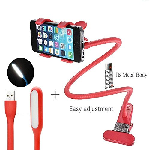 Die Hard Combo of 360 Degree Metal Lazy Stand and USB LED Light for All Smartphones (Colour May Vary)