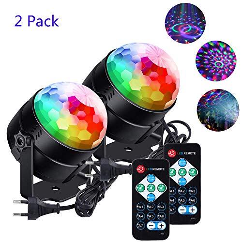 Lunsy - Sfera da discoteca, 2 pezzi, 6 colori RGB a LED, con effetti luminosi, girevole a 360°, con...