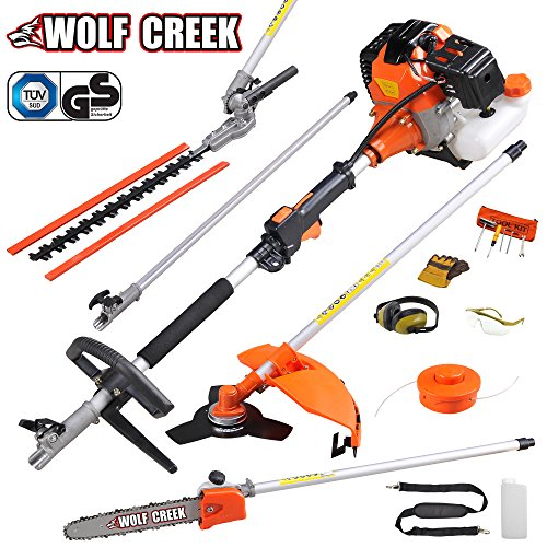 We recommend this garden multi tool for gardens with really high edges, branches, weeds and long thick grass. It works well in large areas, saves on time and the power is strong enough to bring down outgrown elements in your garden that are out of reach.