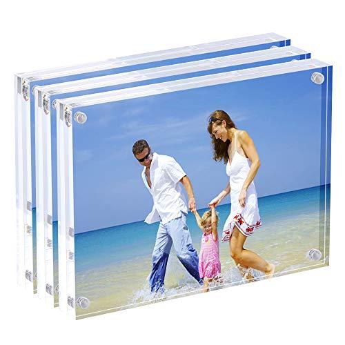AMEITECH 13x 18cm Cornici Portafoto in Acrilico, Magnetico, 10+ 10mm Spessore Supporto da...