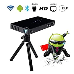 Kaufen Beamer DLP mit Android 7.0, Dual WiFi Bluetooth 4.0, Smart Video Projektor Portable ExquizOn P8I 1080P FHD 120 Zoll, Quad Core HDMI/TF/USB Wiederaufladbar Auto Keystone für Smartphone iPhone iPad Handy Tablet PC Laptop Fußballspiele Heimkino (Schwarz)