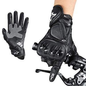 Aolead Motorrad Handschuh, Premium Leder Herren Handschuhe mit Touchscreen Harte Knuckle, Taktische Handschuhe für Mountainbike Radfahren Camping Klettern(XL) 11