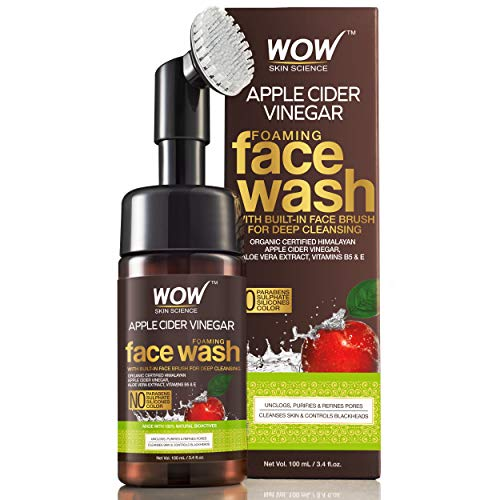 WOW Organic Apple Cider Vinegar Foaming Face Wash with Built-In Brush - No Parabens, Sulphate and Silicones, 100 ml 1