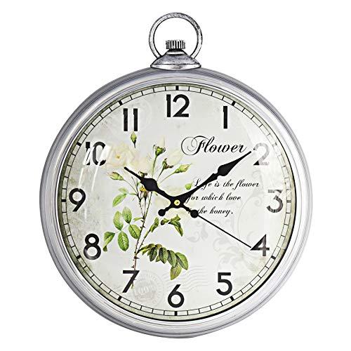ufengke Orologio da Parete Silenzioso Vintage Argento Fiore Orologio da Muro al Quarzo con Numeri Grandi 30 cm
