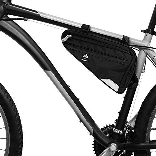 Borsa per bici da telaio o da sella I Spaziosa borsa triangolare da telaio bici uomo o donna I Borsa impermeabile triangolare con trasduttore fanale (M)