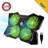 KLIMTM Wind Raffreddatore per PC Portatile - Ventola Pad - Il più Potente - Azione Rapida - 4 Ventole con Supporto per Gaming PC Cooling - Laptop Cooler - Verde - Nouva Versione 2019