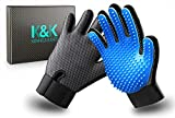 K&K Pet Grooming Glove Set. Premium Deshedding glove for easy, mess-free grooming of Dogs, Cats, Rabbits and Horses with Long/Short/Curly fur. 1 Pair Gentle,Pet Hair Remover Mitt & Storage Bag