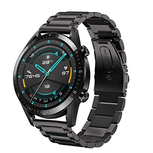 SPGUARD Cinturino Compatibile con Cinturino Huawei Watch GT 2 46mm, Cinturino di Ricambio Regolabile in Acciaio Inossidabile da 22 mm per Huawei GT 2/Huawei Watch GT/Active-Nero