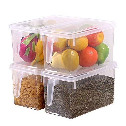 Hapileap cucina frigorifero food organizer contenitore trasparente con coperchio e manico 4 Pcs