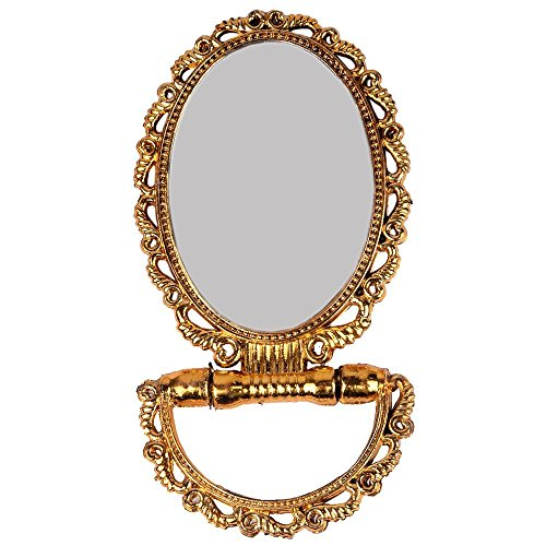 Fully Oval Hand Dresser Mirror For Ladies, Golden, 50 Grams, Pack Of 1