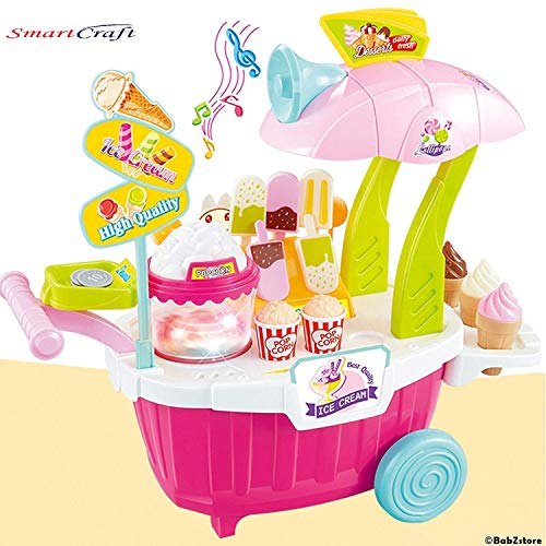 Smartcraft Sweet Shop Cart , Ice Cream Sweet Luxury Candy Cart Shop with Lights & Music - Pink