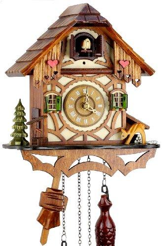 Orologio a cucù della Foresta Nera in vero legno con meccanismo azionato da batteria con verso cucù e musica - di Uhren-Park Eble - Eble -Casetta a traliccio 24 centimetro-