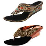 Thari Choice Women's Combo Of Velvet Ethnic And Fashion Wedges Heel Sandal