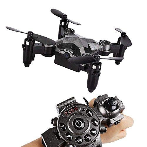 YMXLJJ WIFI FPV Drone Con Fotocamera HD 2.0MP 2.4G Smart Tipo Di Orologio Telecomando Pieghevole Quadcopter Ritenzione Di Altezza Adatto Per Principianti O Regalo Grigio