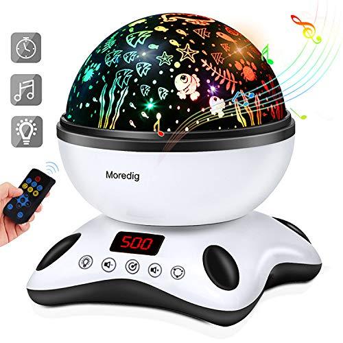 Moredig - Stella Proiettore Lampada, 360° Rotazione Musicale Proiettore Lampada con lo Schermo a...