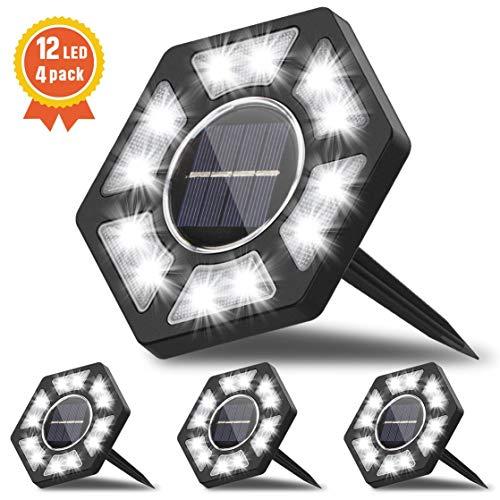 Fenvella Luci Solari Esterno 12 LEDs, Lampada Led Solare Giardino IP67 Impermeabile, Faretti Sepolta...