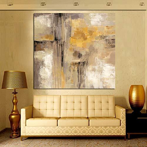 zxddzl Stampa HD Giallo Grigio Astratto Dipinto ad Olio su Tela scandinavo Art Poster da Parete Soggiorno Divano Home decor60x60cm