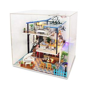 Casa de muñecas DIY House Bon Colors sin Cubierta Mini casa Renovación Casa de muñecas DIY Creativo Manual de ensamblaje Modelo de Villa Grande Juguetes de Madera Casa de muñecas de