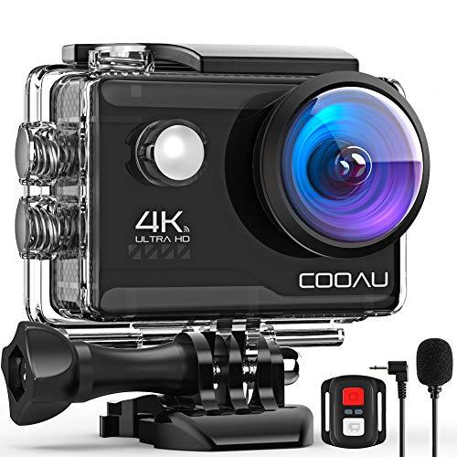 COOAU Action Cam HD 4K 20MP WiFi Con Microfono Esterno Fotocamera Sott'acqua 40M con Telecomando...
