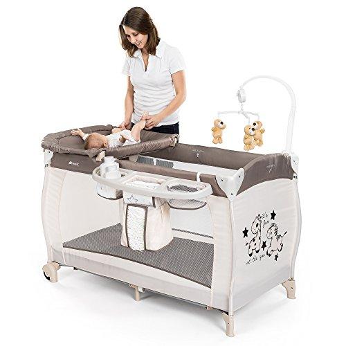 HAUCK - Cuna de viaje para bebé BabyCenter Zoo - Incluye elevador para recién nacidos, cambiador, movil musical, cesta portapañales, ruedas, colchón, bolsa de transporte