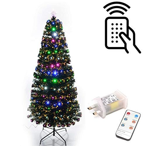 Shatchi 6052-LED-REMOTE-TREE-90 cm - Albero di Natale in fibra ottica con luci LED, con telecomando, 8 diversi effetti decorativi, 90 cm, colore: verde